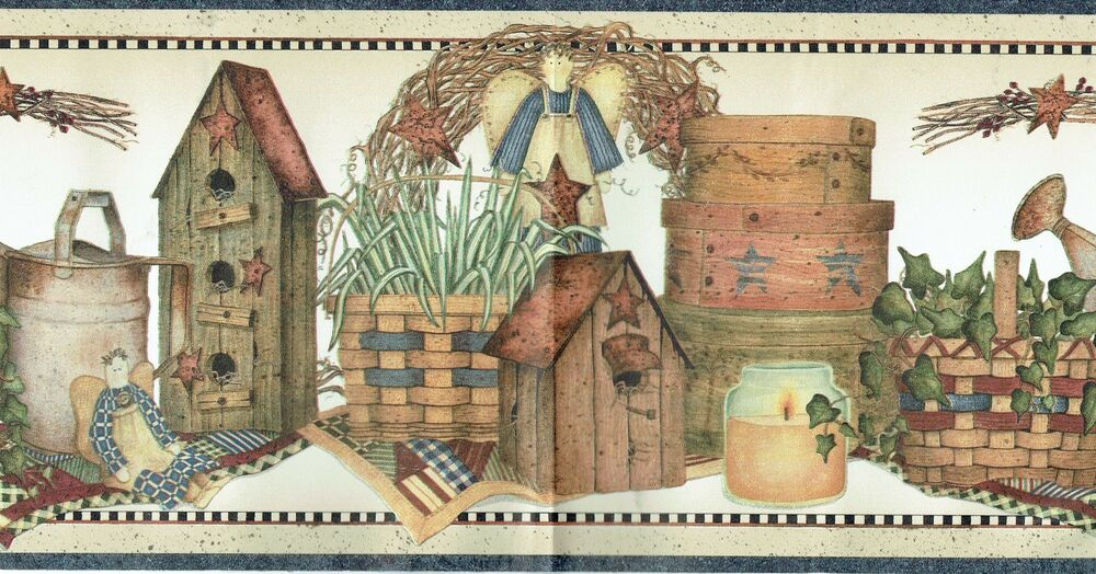 COUNTRY PRIMITIVE BIRDHOUSE BASKETS CANDLES STARS Wallpaper Wall BordeR ANGEL 793539087207