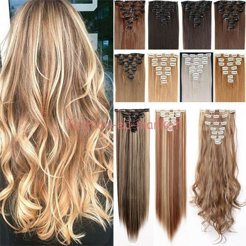 us real 8pc 18 clips clip in hair extensions hairpiece