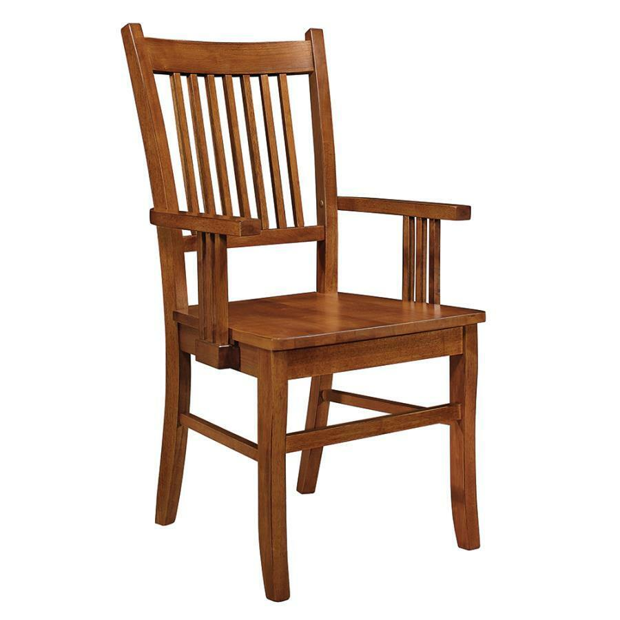 Oak Chairs With Arms ~ Medium brown oak finish mission dining arm chair by