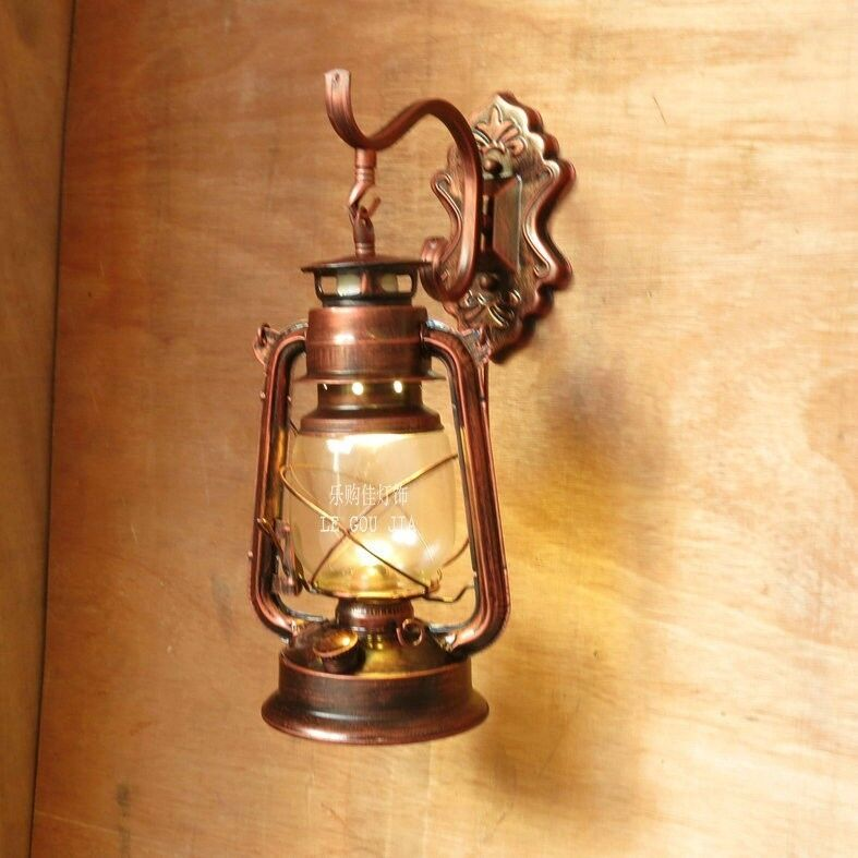 Wall Mounted Kerosene Lanterns : Barn lantern Iron Vintage kerosene lamp oil light wall aisle dinnining 110v 220v eBay