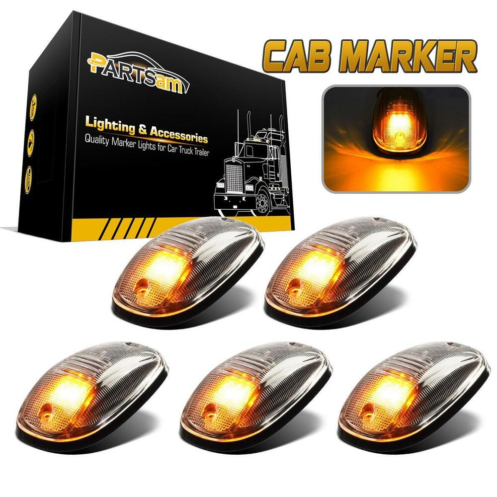 5pcs Clear Amber Led Cab Roof Marker Top Clearance
