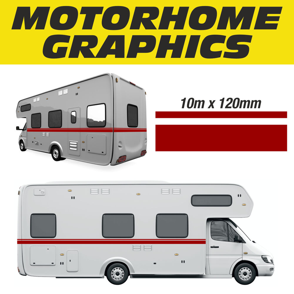 Motorhome graphics 10m stripe design exterior signs for Decals for rv mural