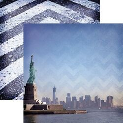 Scrapbooking Crafts 12X12 Paper DS New York Harbor City View Sky Statue Liberty