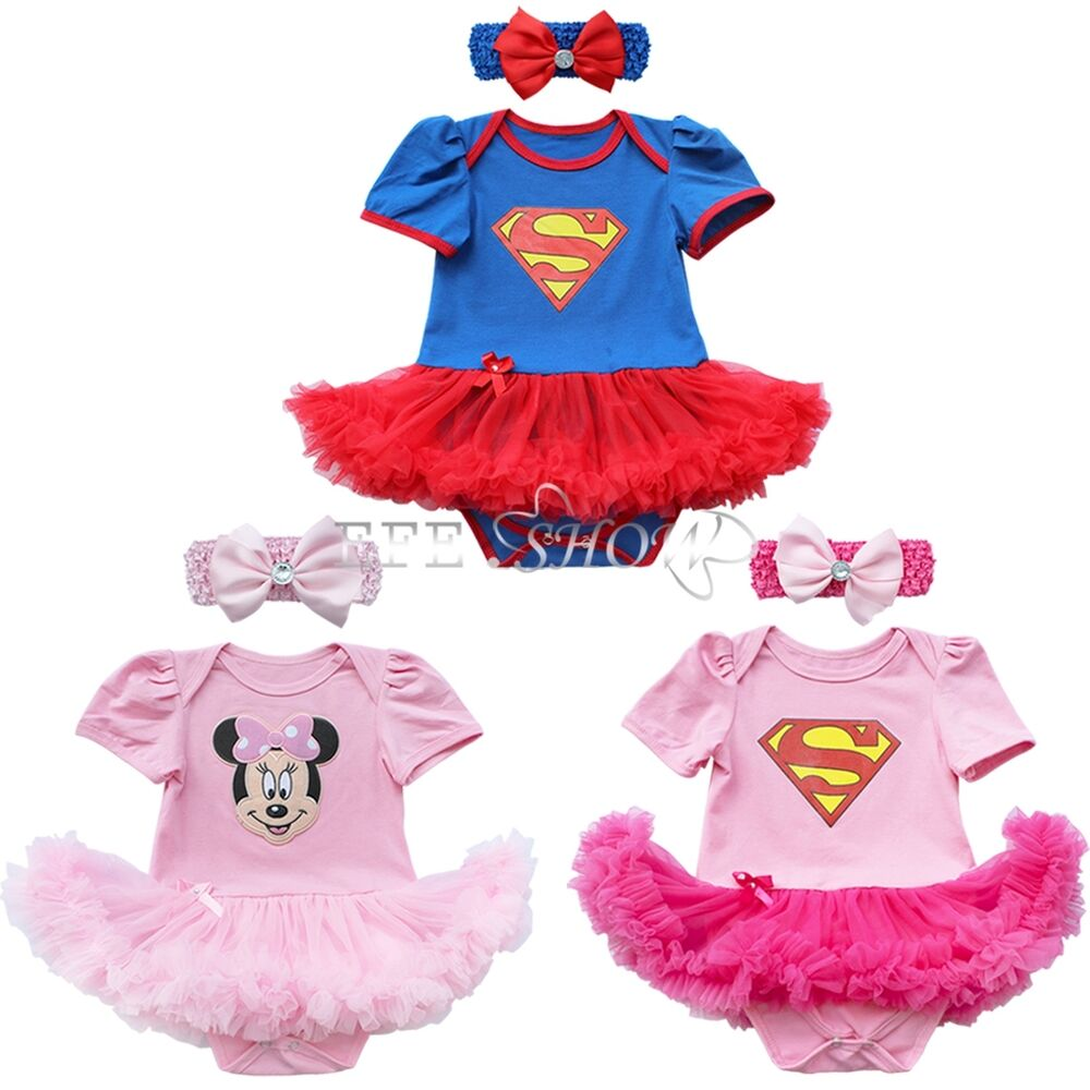 Newborn Infant Baby Girl Superman Romper Bodysuit Dress Clothes Outfits+Headband | eBay
