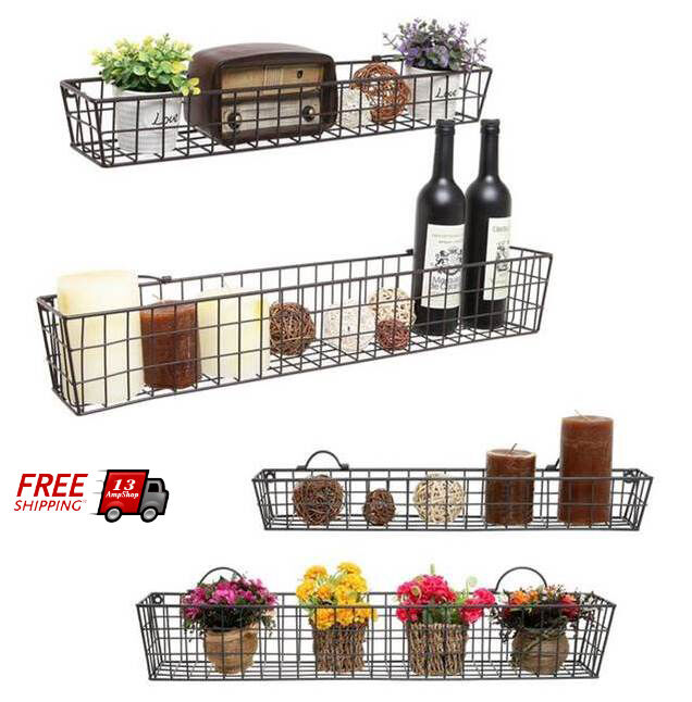set of 2 wire basket shelves wall mounted storage shelf. Black Bedroom Furniture Sets. Home Design Ideas