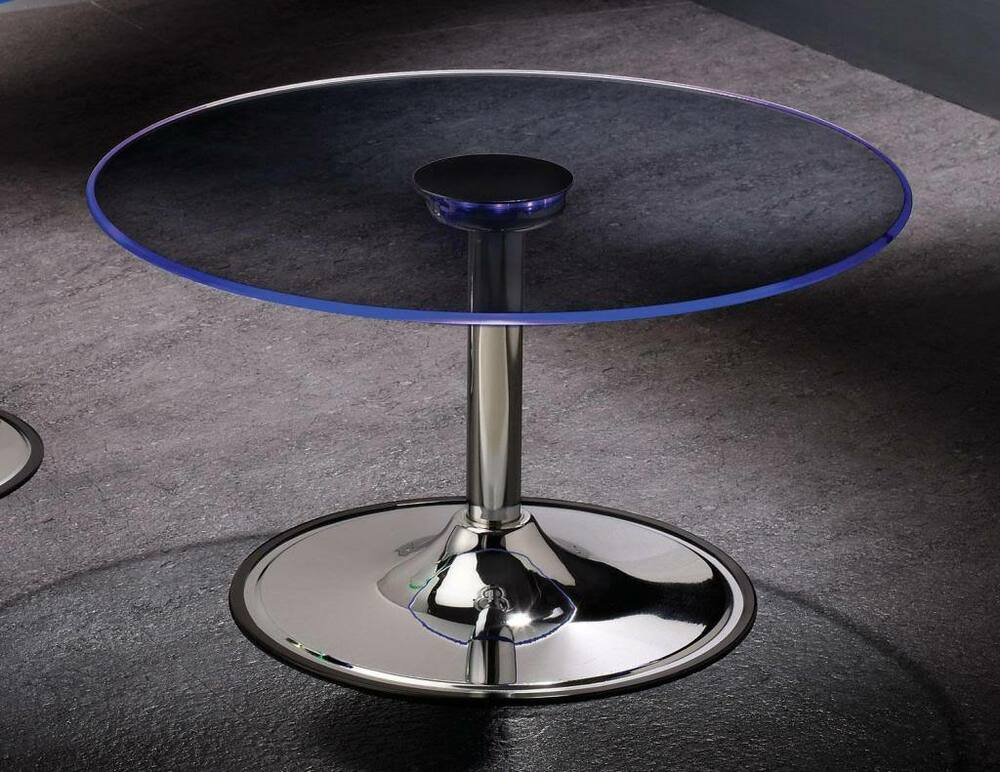 Transitioning 6 Color LED Coffee Cocktail Table with Glass