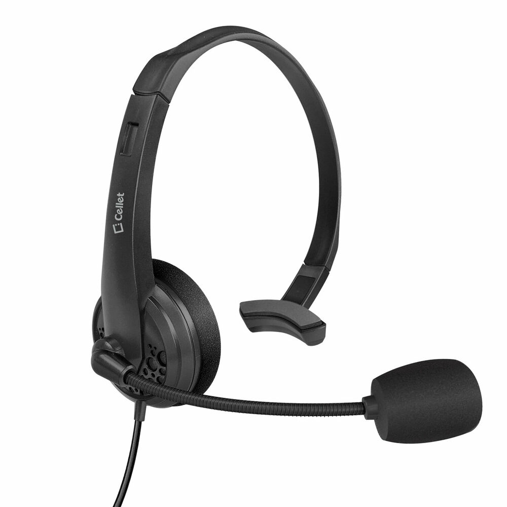 Premium hands free headset with boom mic for home office cell phones ebay - Phone headsets for office ...