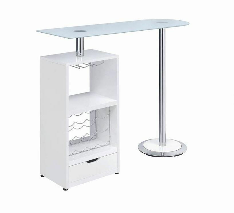 White Bar Table With Wine Bottle Storage And Glass Top By