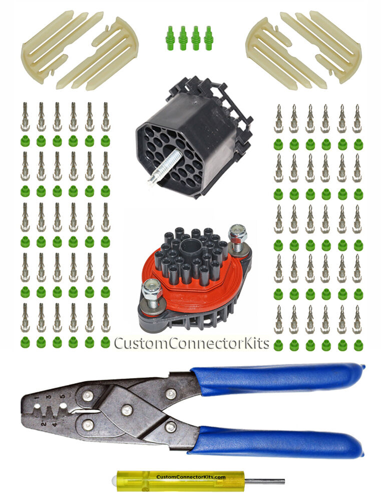 weather pack bulkhead connector kit 20 18 ga with removal tool crimp tool ebay. Black Bedroom Furniture Sets. Home Design Ideas