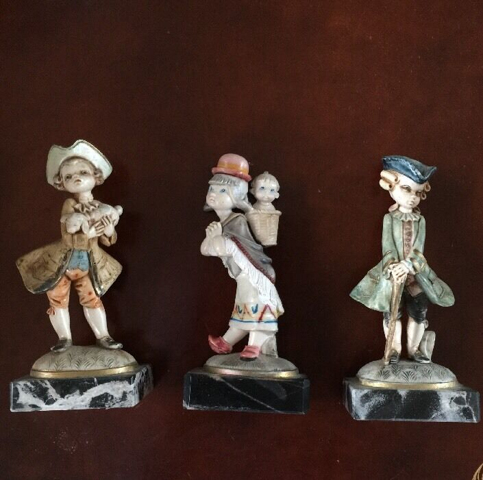 Lots Of 3 Cefose Figurines Genuine Carrara Marble Made In