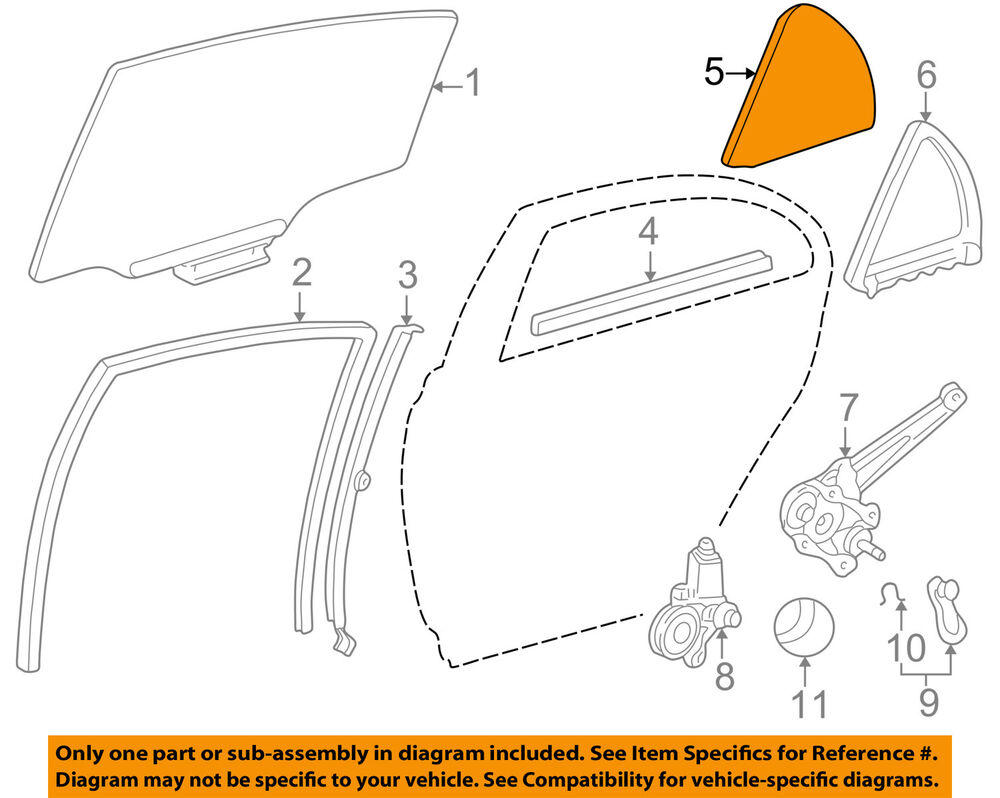Toyota oem 05 08 corolla glass rear door fixed window for Where can i get my window motor fixed