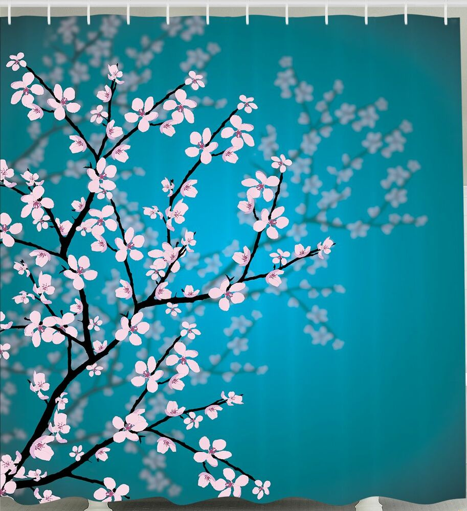 TEAL SHOWER CURTAIN Cherry Blossom Bud Reflections Flower