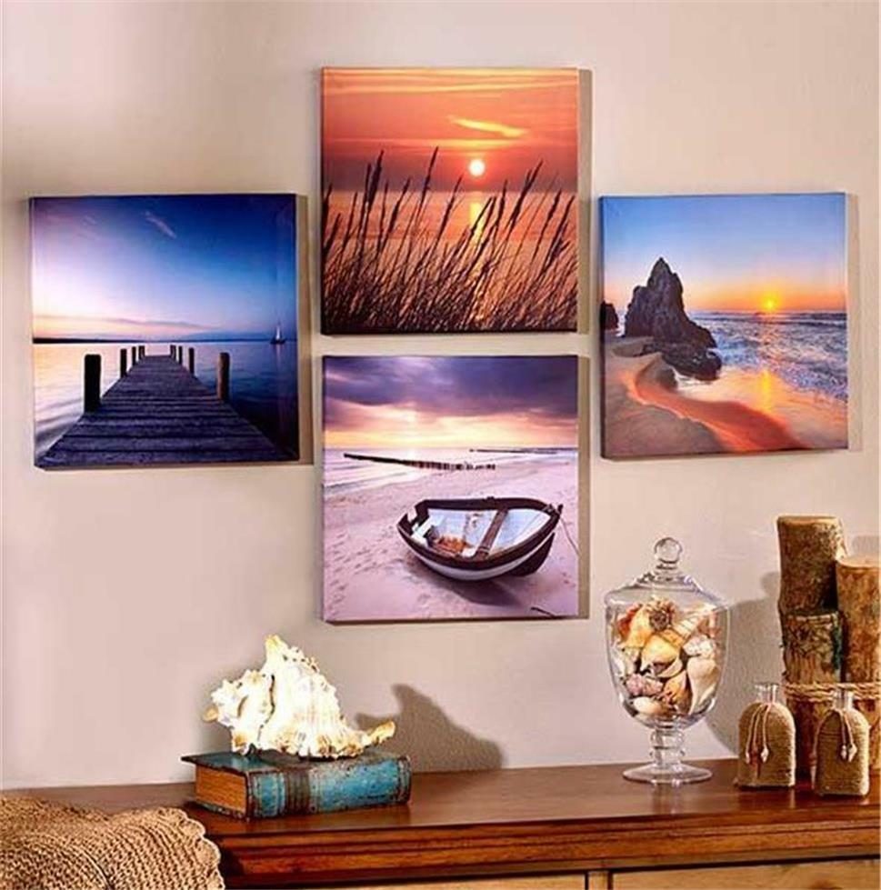 4 Piece Giolla Wall Decor Set : Piece canvas wall art set captures beauty of nature
