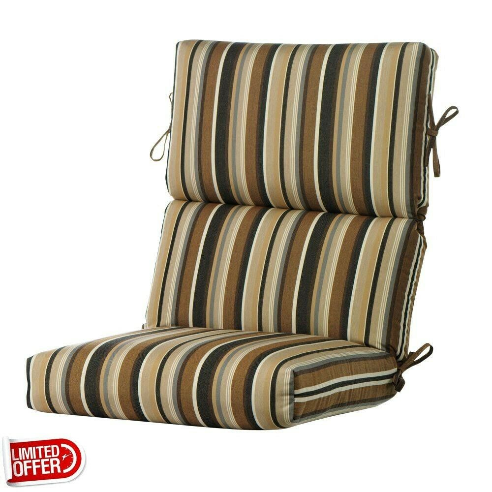 Sale Espresso Stripe High Back Outdoor Recliner Cushion