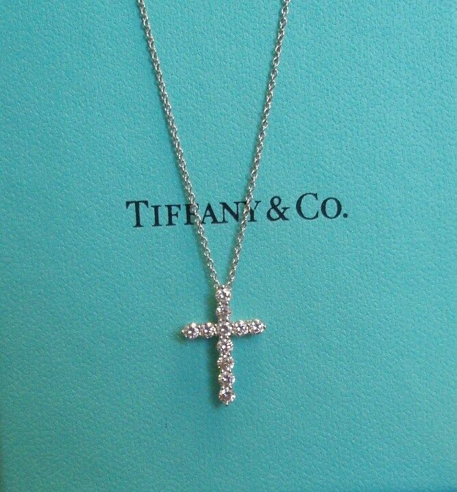 tiffany co platinum diamond cross pendant necklace ebay. Black Bedroom Furniture Sets. Home Design Ideas