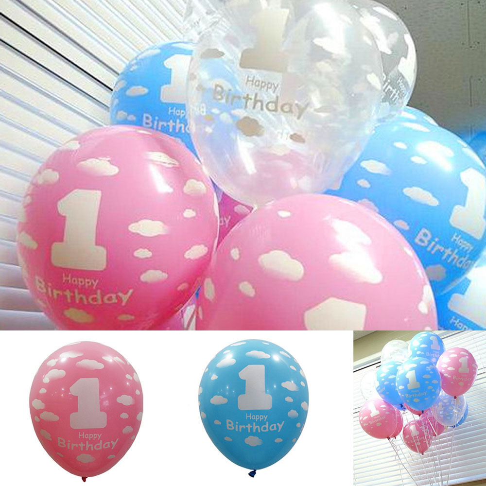 5 10pcs boy girl round latex 1st birthday party pearlised for Balloon decoration for 1st birthday party