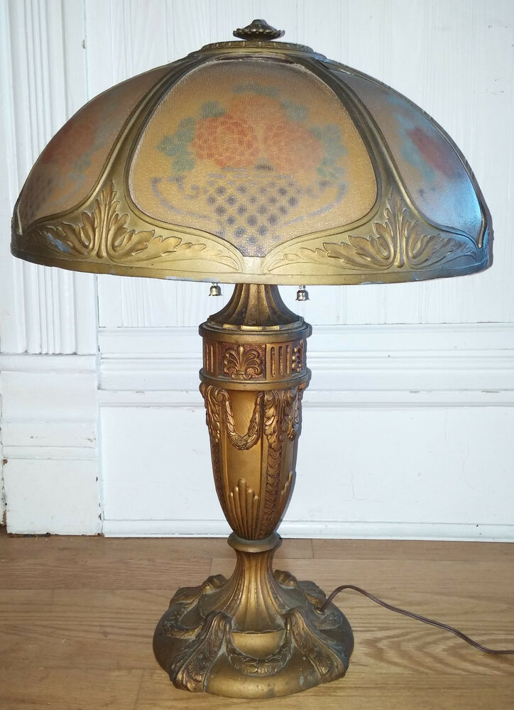 Vintage Table Lamps With Flowers : Antique vtg cast metal table lamp w ridged reverse