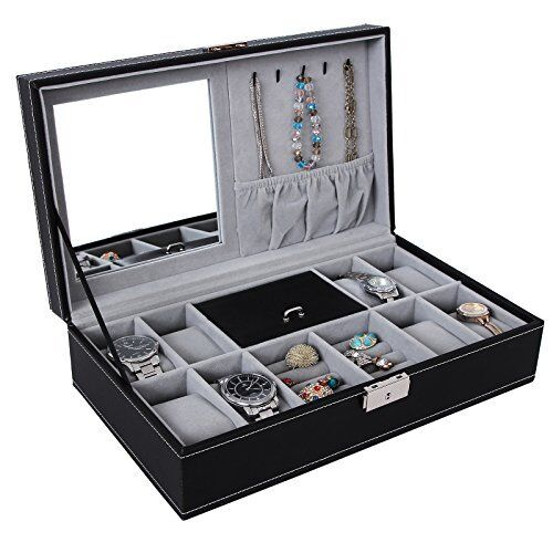 Black Leather Jewelry Box Watch Organizer Large Case Gift Ring Display
