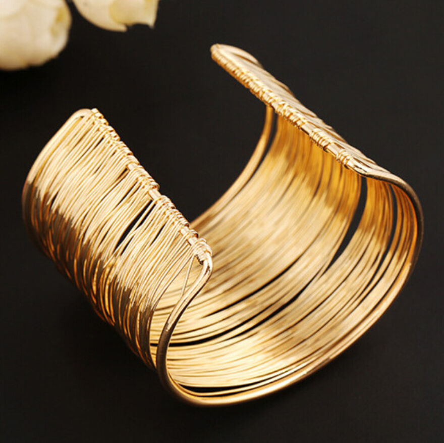Cuff Bangle Bracelet: Gold Plated Fashion Cuff Bracelet Jewelry Vintage Lots