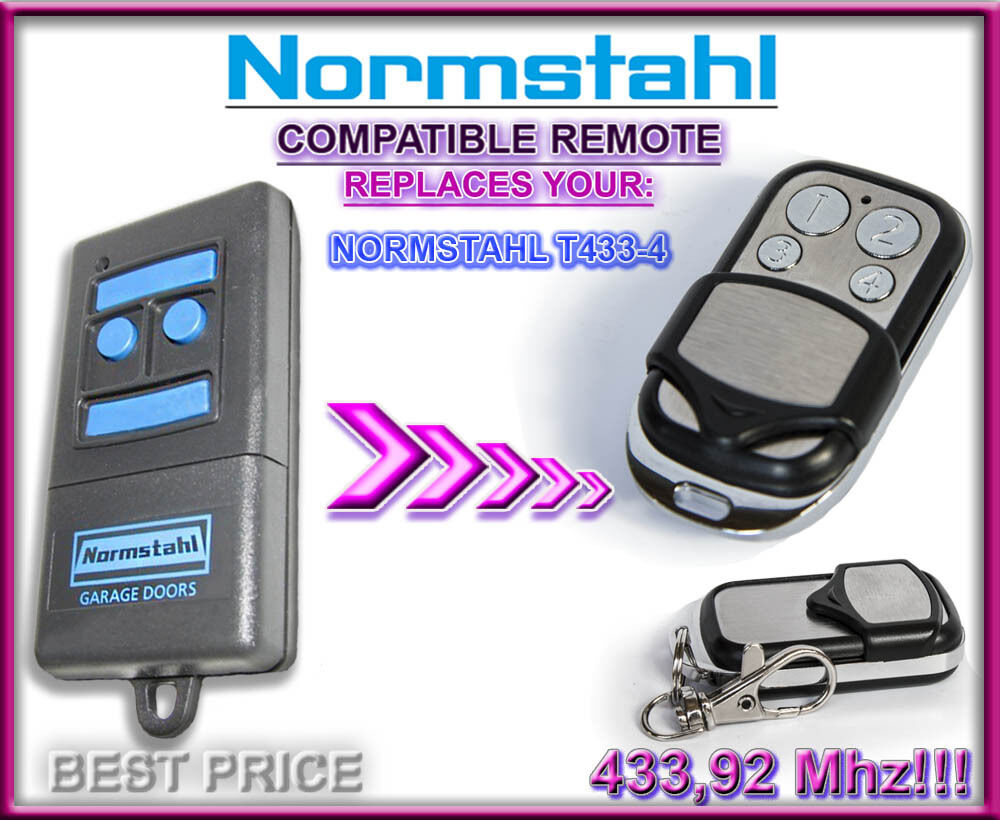 normstahl t433 4 compatible replacement remote control 433 92mhz rolling code ebay. Black Bedroom Furniture Sets. Home Design Ideas