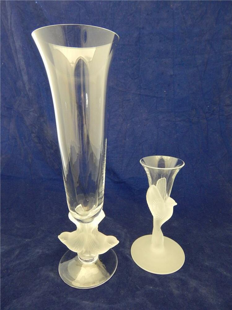 Sasaki Wings Crystal 11 Quot Flower Vase Amp Taper Candle Holder Frosted Bird Stems Ebay