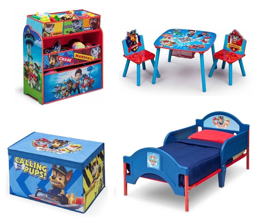 Paw Patrol Bedroom Furniture Set Boys Toddler Bed Room Toy Storage Table Chairs Ebay