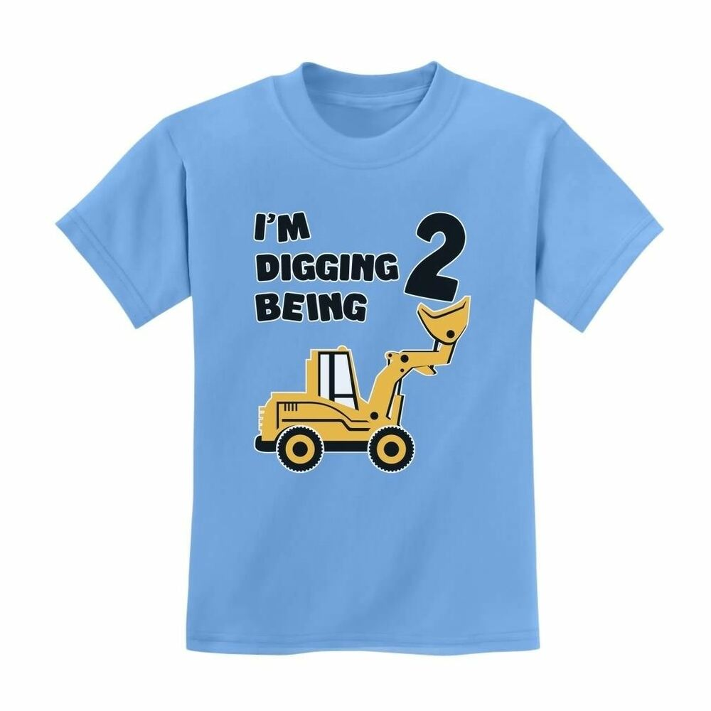 2nd Birthday Bulldozer Construction Party Toddler Kids T