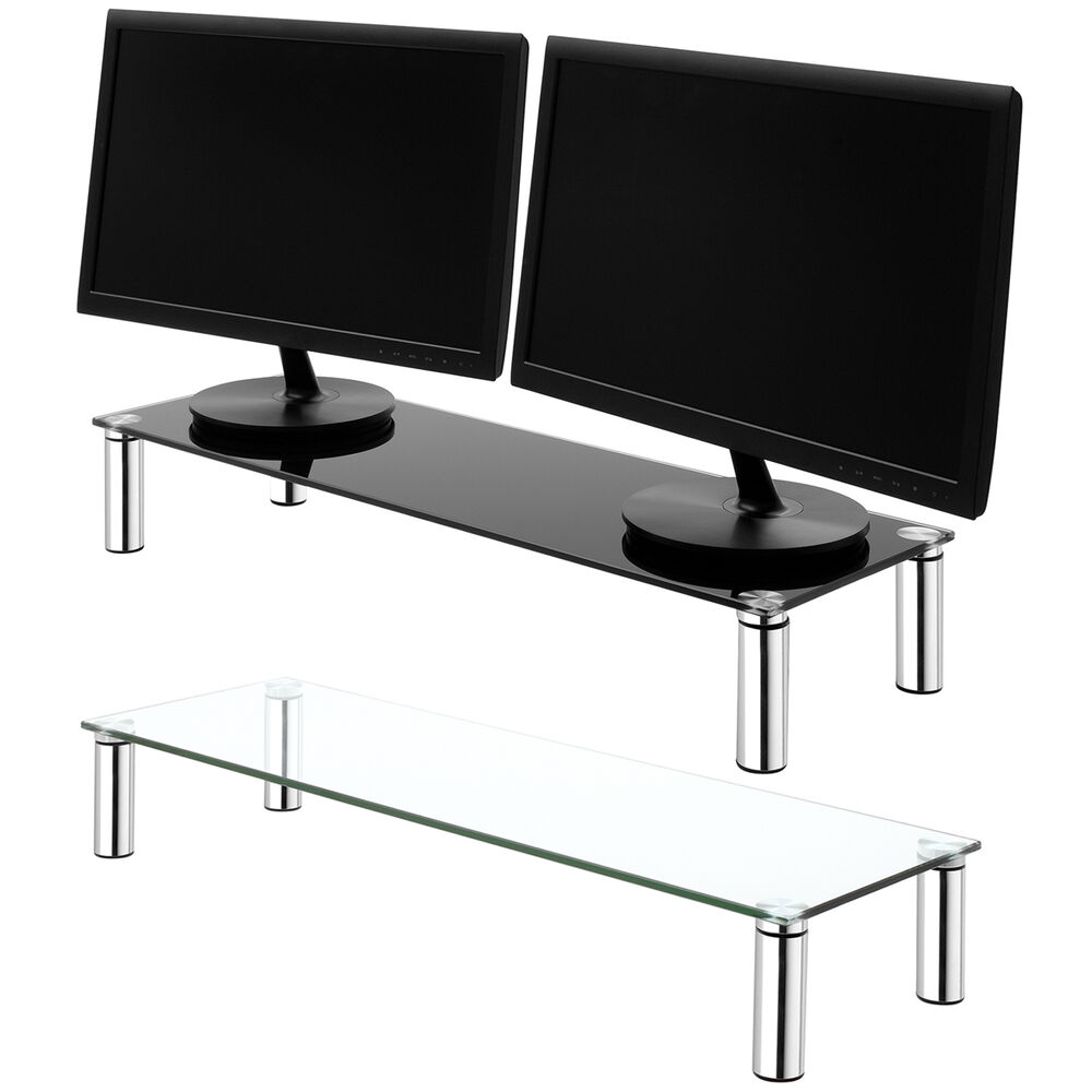 large double monitor screen riser tube shelf computer imac tv stand ps4 xbox ebay. Black Bedroom Furniture Sets. Home Design Ideas