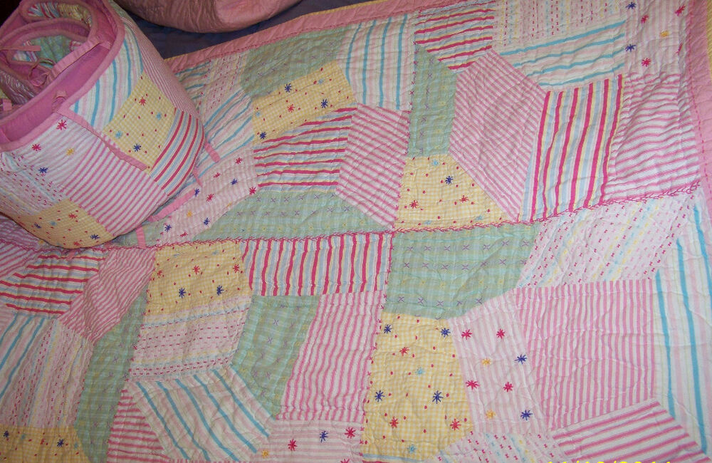"Pottery Barn Crib Quilt Set ""Jordan Patchwork "" Baby Girl"