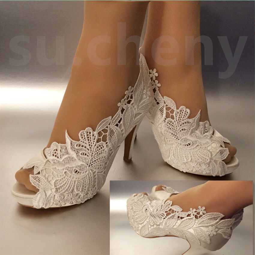 "Wedding Bridal Heels: 3"" 4"" Heel White Ivory Silk Lace Open Toe Crystal Wedding"