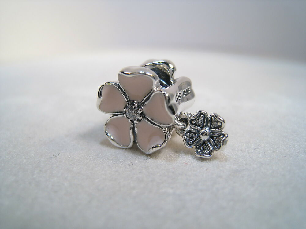 New   Authentic Pandora Silver Charm Charm Poetic Blooms