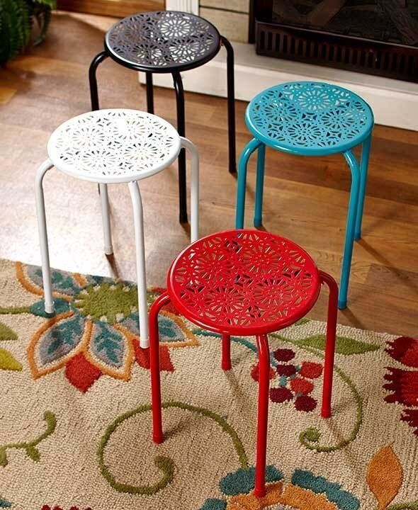 Metal Daisy Stool Plant Stand Side Table Porch Decor Red