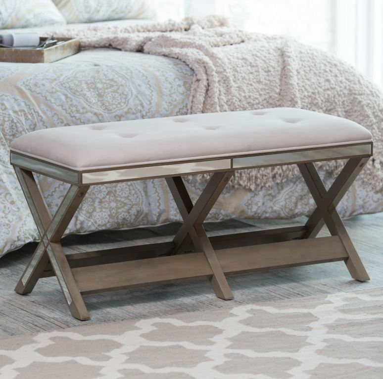 Upholstered Bench Entryway Furniture Seat Hallway End Of Bed Modern Mirrored New Ebay