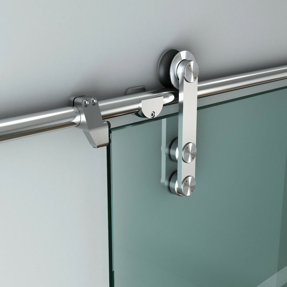 Sliding Barn Door Track : Ft stainless steel glass sliding barn door hardware