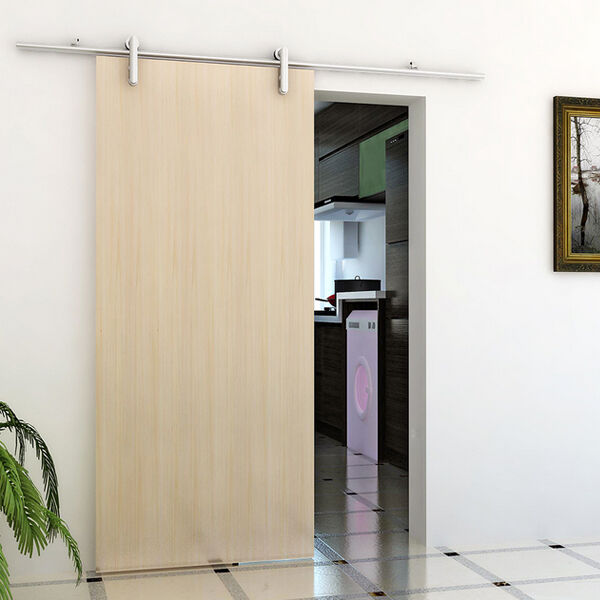 Modern Track Lighting Closet: 6FT/6.6FT Modern Slding Barn Wood Door Hardware Closet