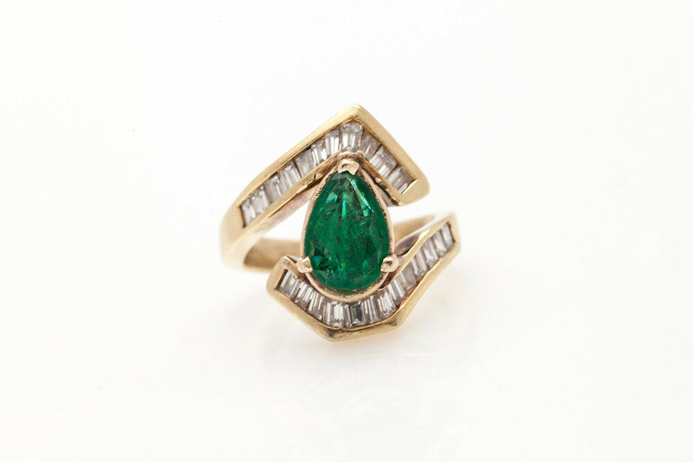 Estate $8000 DECO 5ct Colombian Pear Emerald Diamond 18k Gold Ring FREE SIZIN