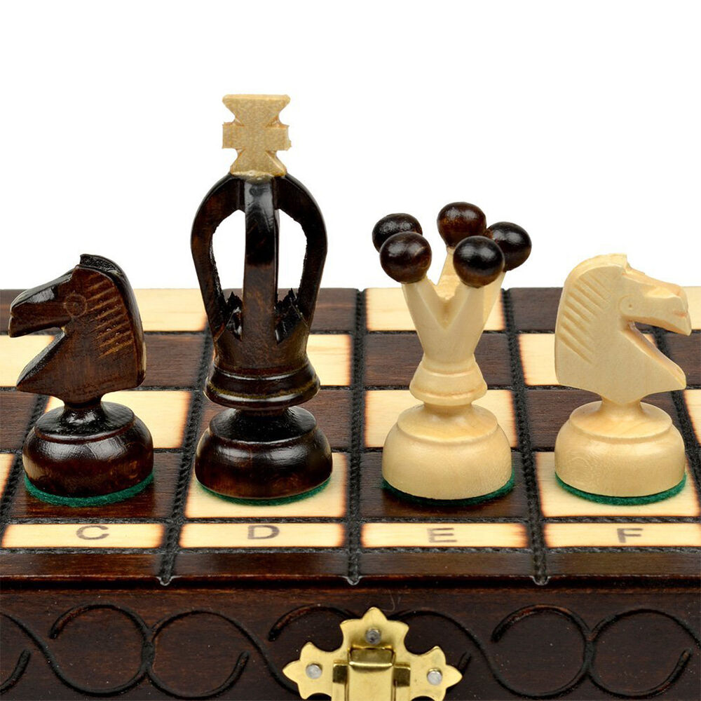 Wooden Chess Set Wood Board Hand Carved Crafted Pieces