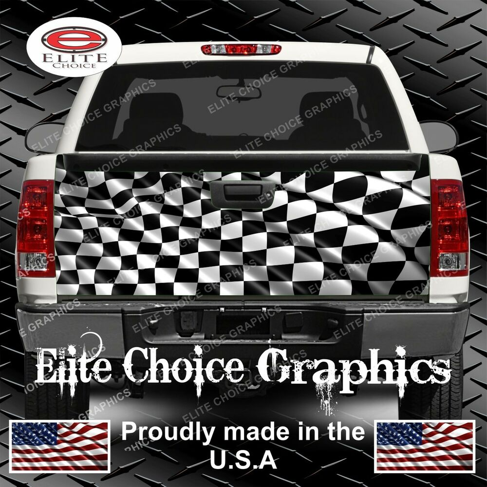Racing Checkered Flag Truck Tailgate Wrap Vinyl Graphic