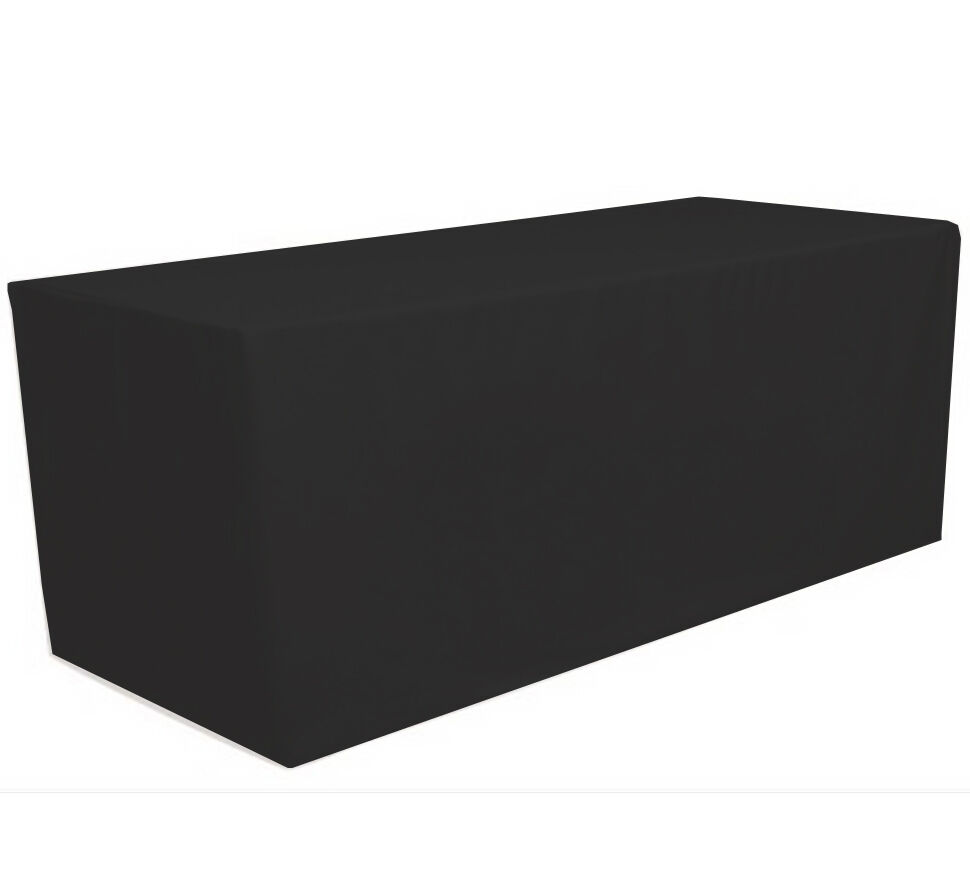 8 39 ft fitted polyester tablecloth table cover wedding banquet party black ebay. Black Bedroom Furniture Sets. Home Design Ideas