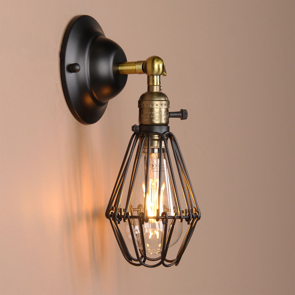 art deco wall lamp vintage industrial bird cage wall light antique brass sconce ebay. Black Bedroom Furniture Sets. Home Design Ideas