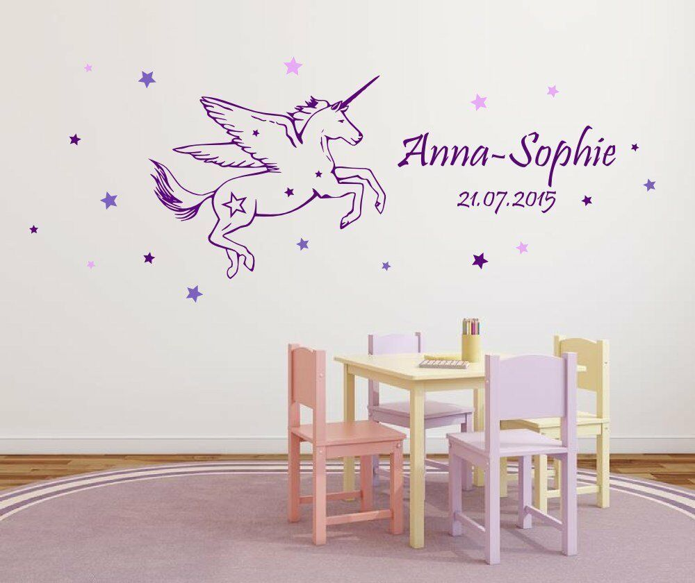 wandtattoo kinderzimmer mit namen datum f r m dchen einhorn m dchenzimmer dk33 ebay. Black Bedroom Furniture Sets. Home Design Ideas