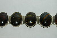 High Quality 8 section Petrified Wood Bracelet Sterling Silver signed DEL