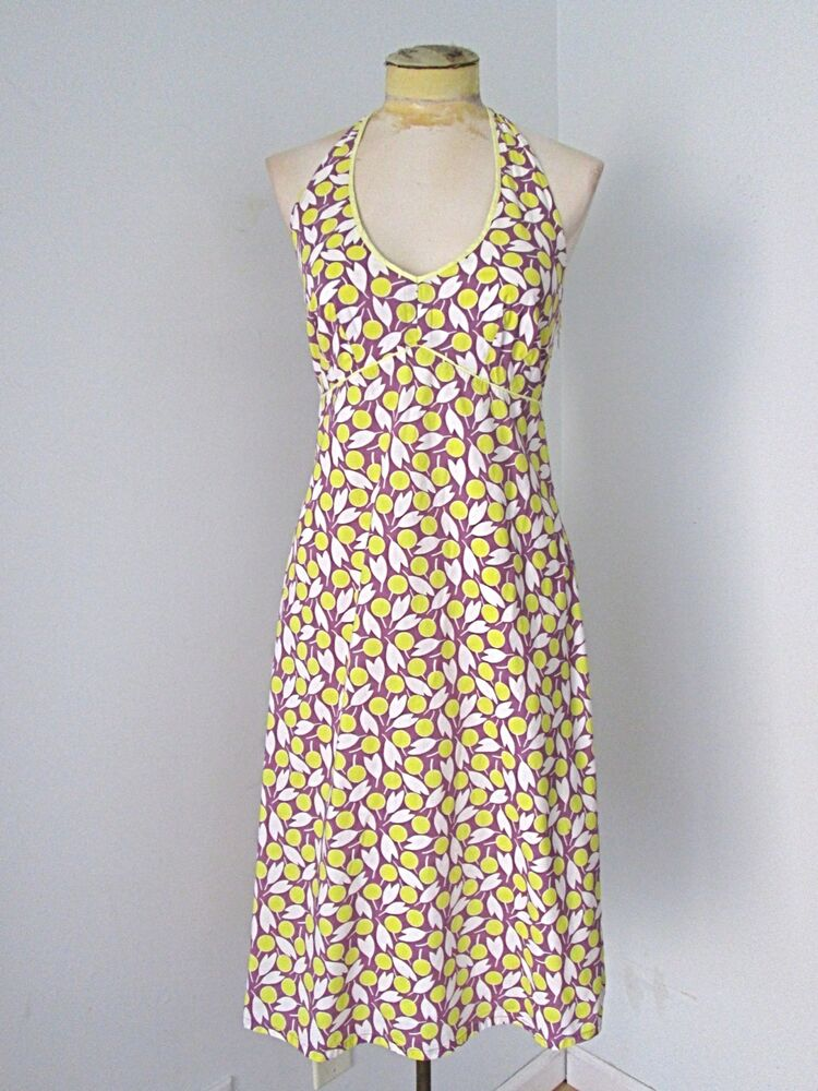 Boden purple yellow white leaf 100 cotton tied halter for Boden yellow