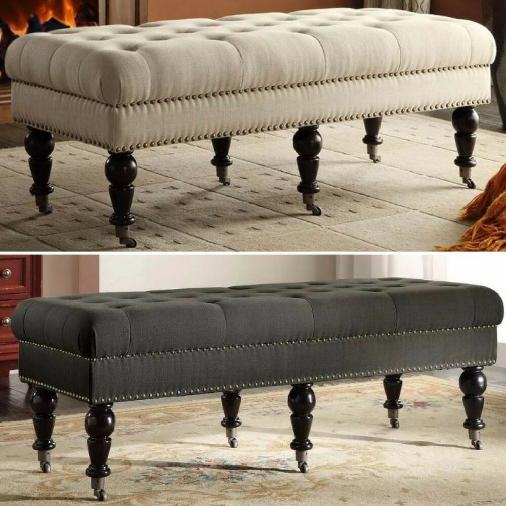 upholstered bench tufted wheeled furniture wood fabric seat end of bed entry way ebay. Black Bedroom Furniture Sets. Home Design Ideas