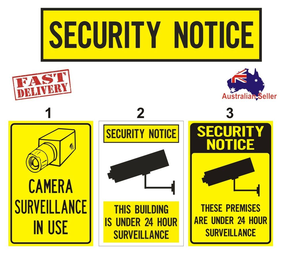 Security sign quot camera surveillance safety ebay