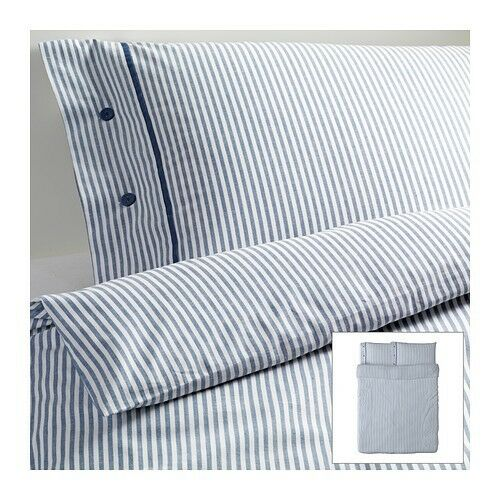 Ikea Blue Classic Ticking Stripe Cottage Duvet Quilt Cover