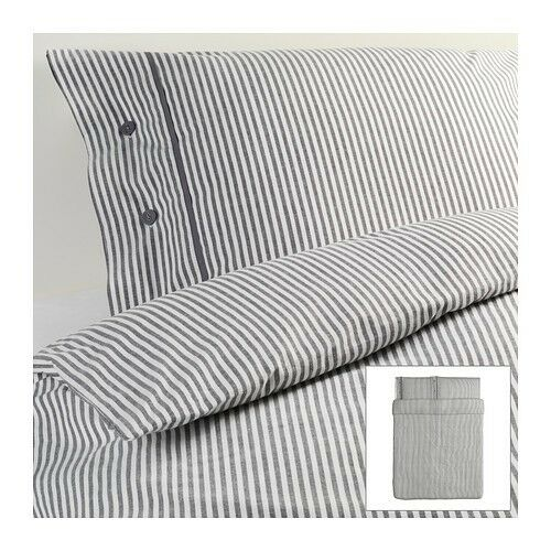 Ikea grey classic ticking stripe cottage duvet quilt cover for Ikea bedding duvet