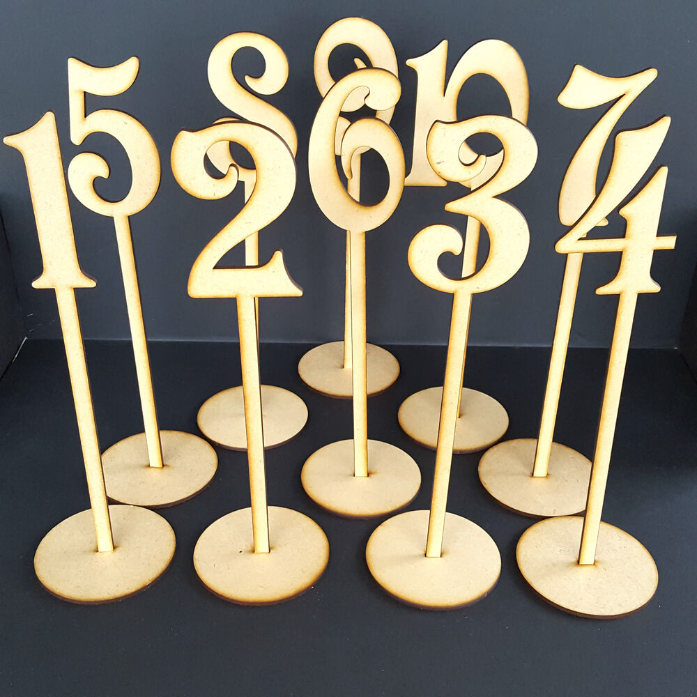 Wooden freestanding table stand numbers balloon wedding for Table numbers