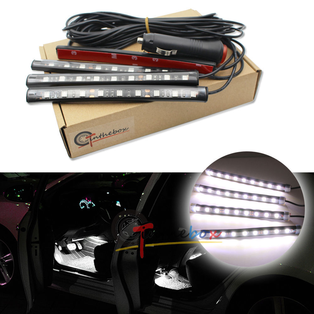 White led car interior under dash foot lighting kit led accent light 4 x 6 ebay for Led lighting for cars interior