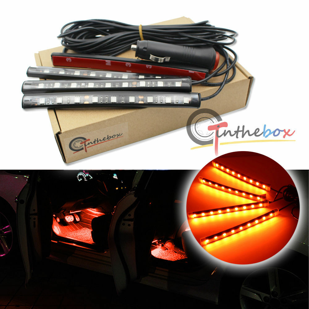 Orange led car interior under dash foot lighting kit led accent lights 4 x 6 ebay for Interior accent lights for cars